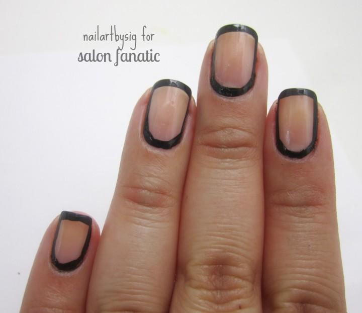 Black Border With Full Negative E Nail Art