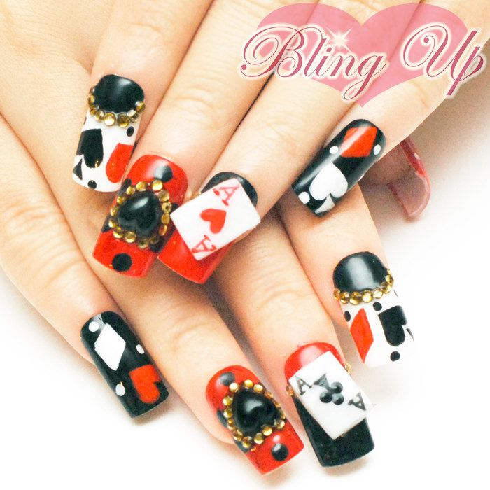 Cards And Black 3d Heart Anese Nail Art