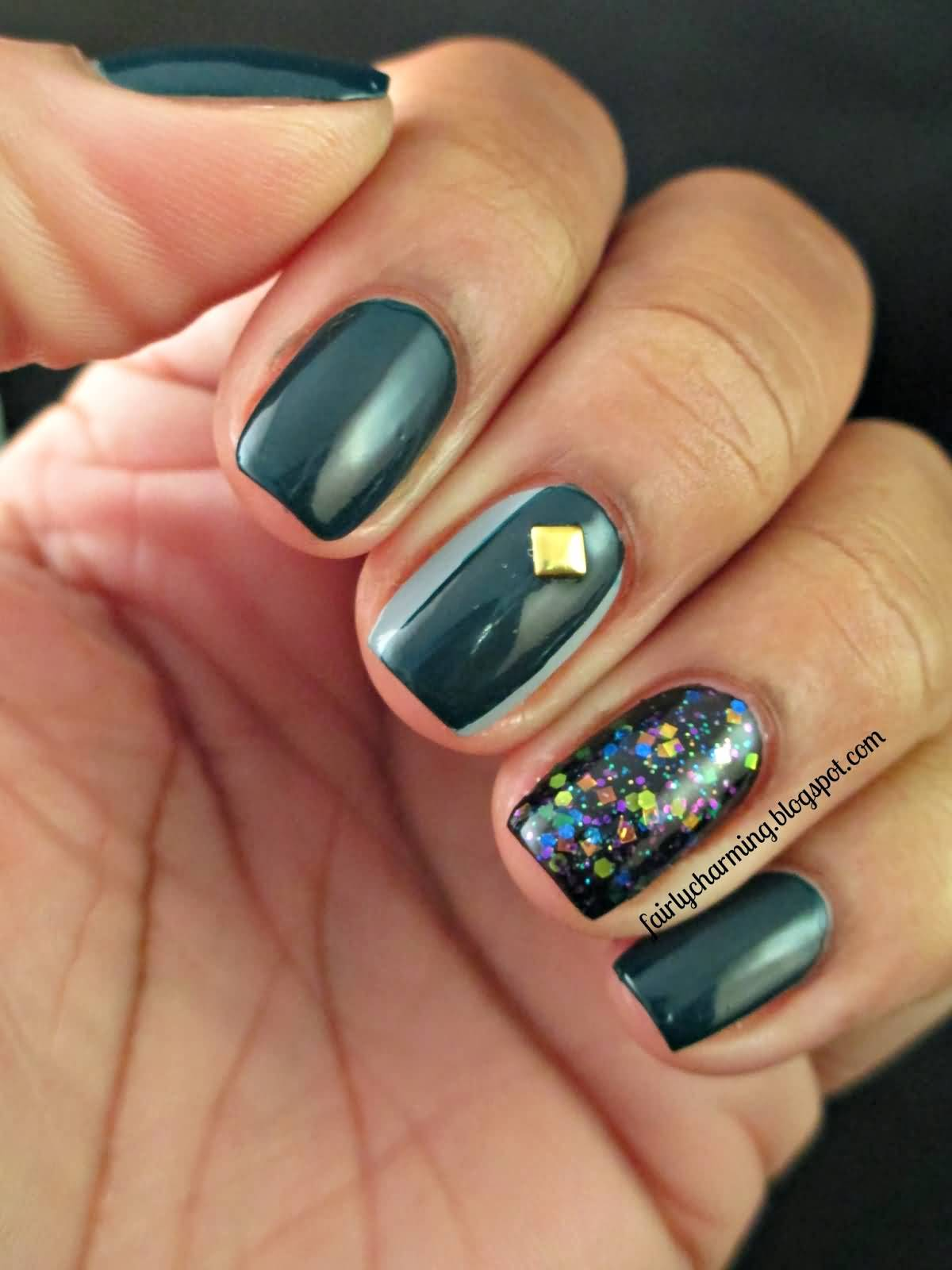 Dark Green Nail With Gold Stud Design Art 75 Most Beautiful And