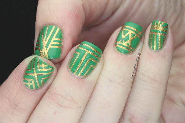 Green Nails With Golden Geometric Nail Art
