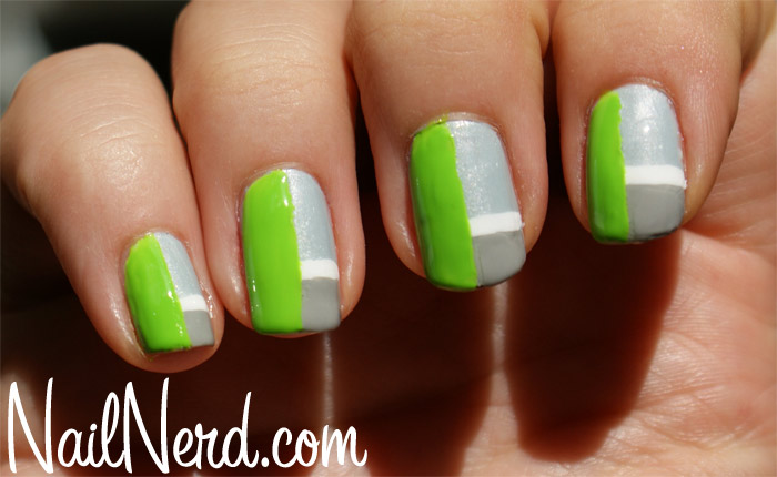 Grey And Green Nail Art With White Stripes Design