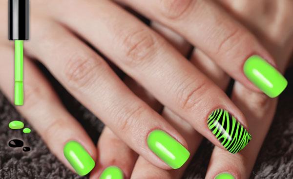 Neon Green Zebra Print Nail Art