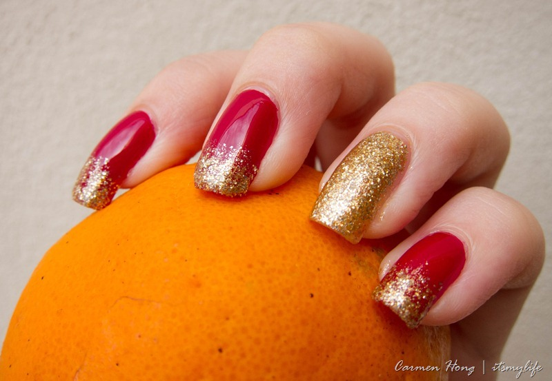 Red And Gold Glitter Simple Chinese Nail Art