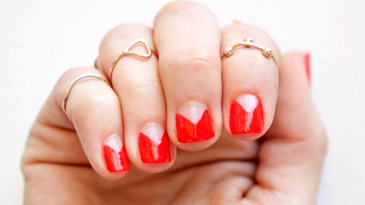 Red Negative E Nail Art Design Idea