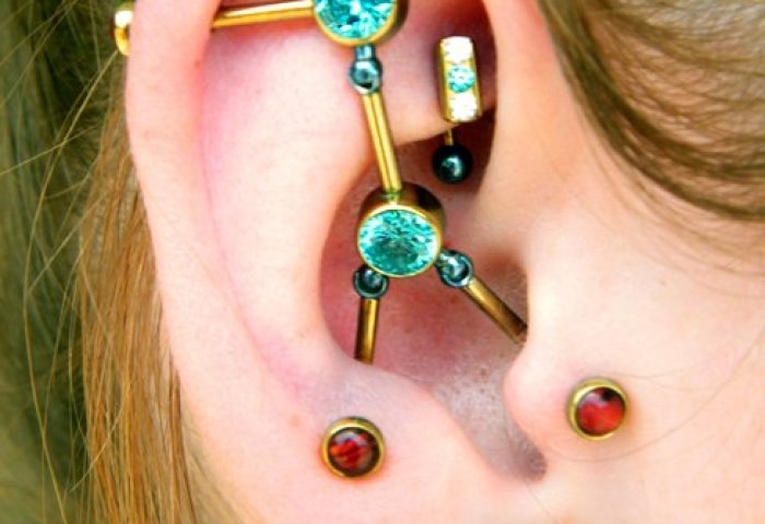 Beautiful Custom Industrial Piercing On Girl Right Ear