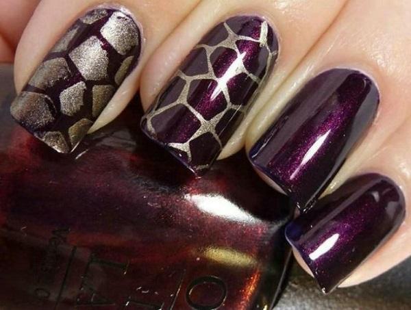 Dark Purple Bricks Design Nail Art Idea