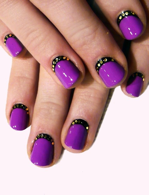 Glossy Purple Nails With Black Studded Reverse French Nail Art
