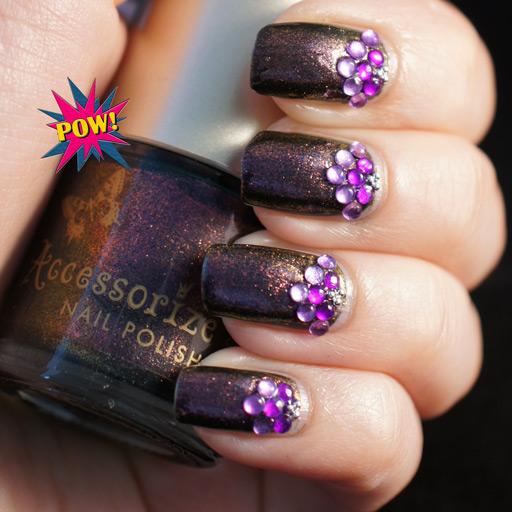 Purple Gems Nail Art Design