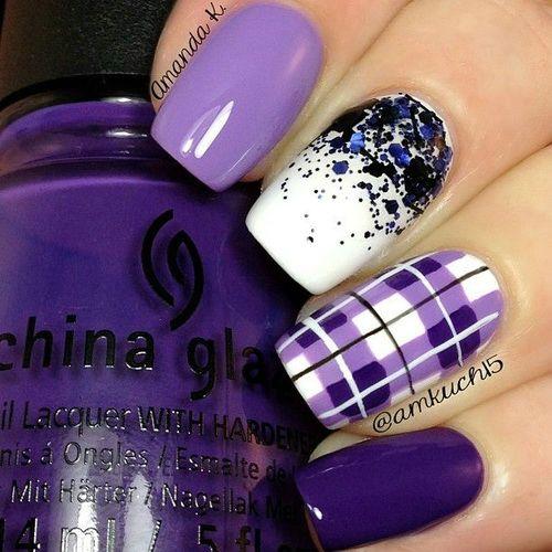 Purple And Silver Glitter Nail Art Design Idea