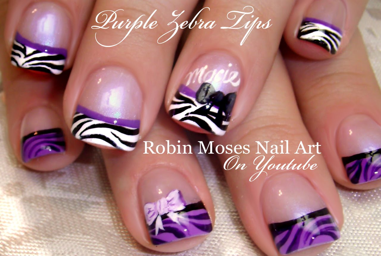 Purple Zebra Print French Tip Nail Art