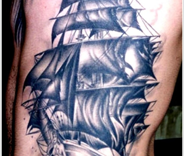 Superb Black Pirate Ship Tattoo On Side Rib For Men