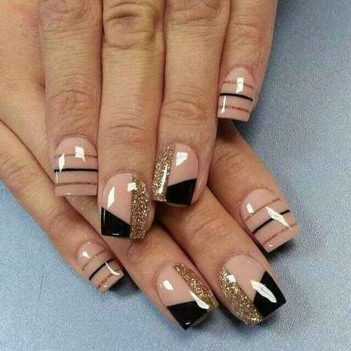 Acrylic Black And Beige With Gold Glitter Strip Design Short Nail Art