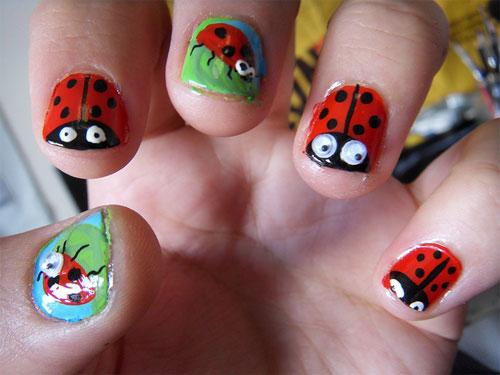 Acrylic Ladybug Nail Art For Short Nails