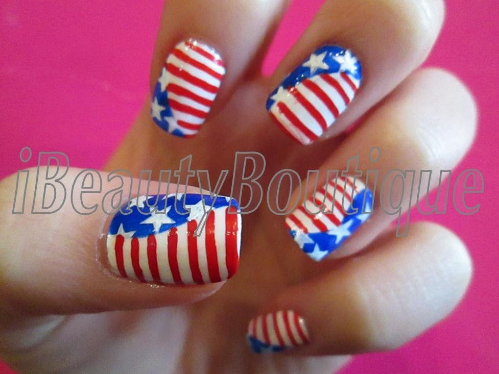 American Flag Nail Art With Tutorial