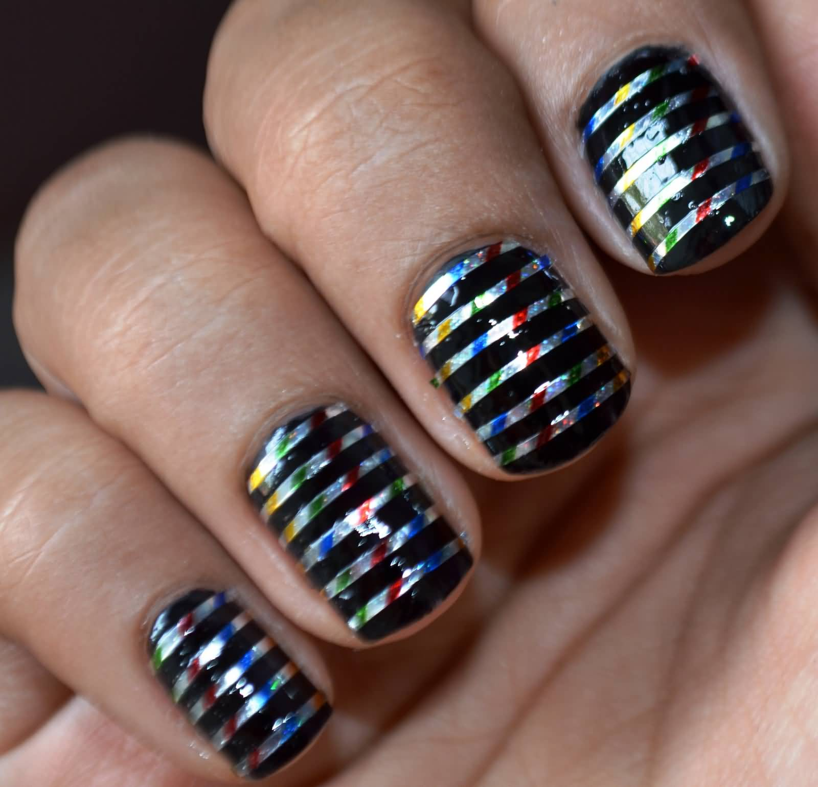 Black Acrylic Striping Tape Nail Art Design With Tutorial