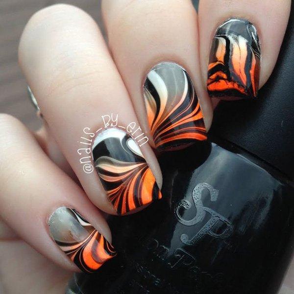 Black White And Orange Water Marble Nail Art