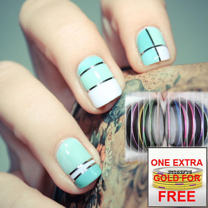 Blue And White Metallic Striping Tape Nail Art