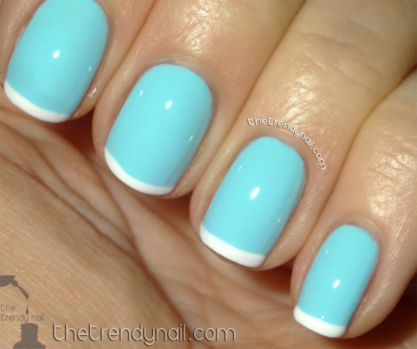 Blue Short Nails With White Tip Deign Nail Art