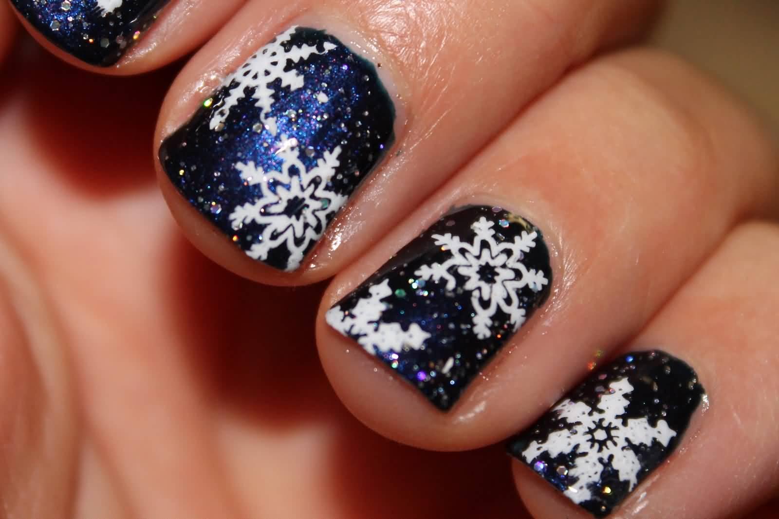 Dark Blue With White Snowflakes Design Christmas Nail Art