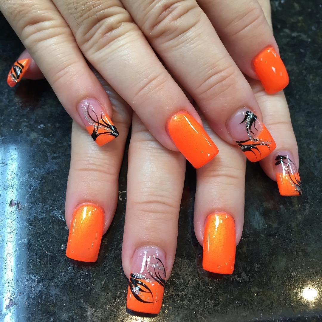 Dazzling Orange With Black Fl Design Nail Art 55 Most Beautiful