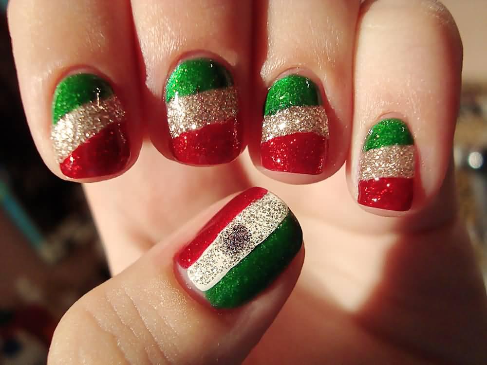 Glitter Mexican Flag Nail Art