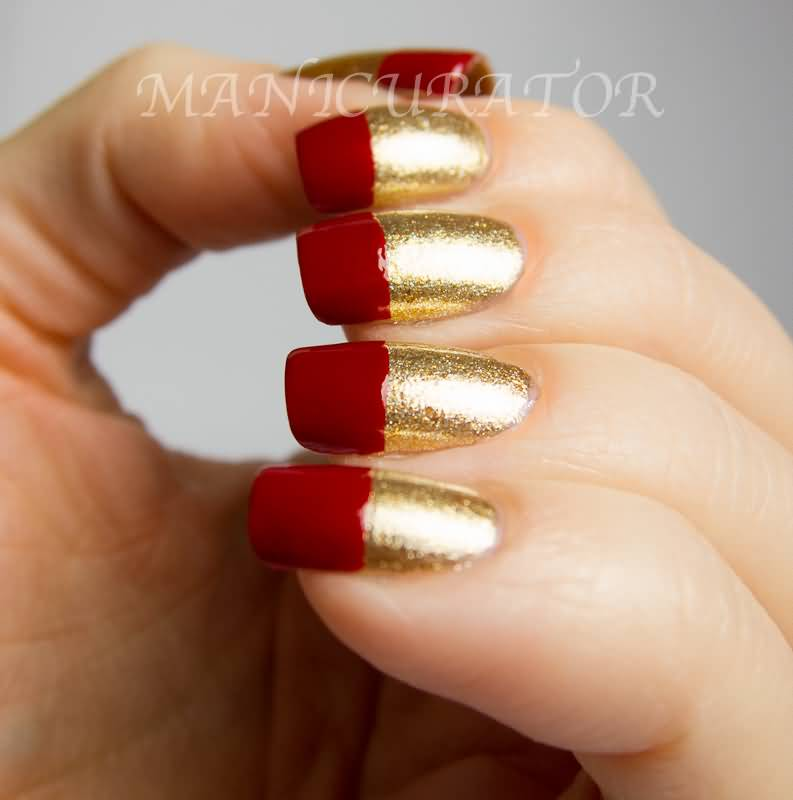 Gold Nails With Red Tip Nail Art Design Idea