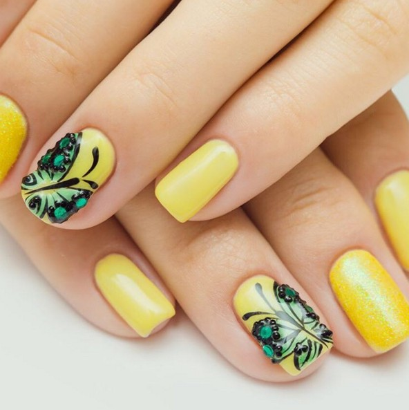 Green Erfly Yellow Nail Art
