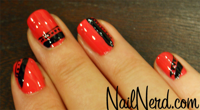 Neon Orange Glossy And Black Nail Art