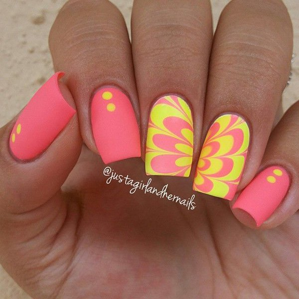 Neon Yellow And Pink Erfly Wings Nail Art