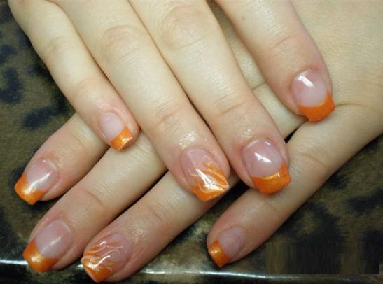 Orange Flame Tip Design Nail Art