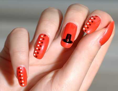 Orange Nails With Hat And Dots Design Nail Art
