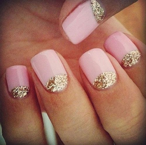 Pink Acrylic Short Nails With Gold Glitter Half Moon Reverse French Nail Art