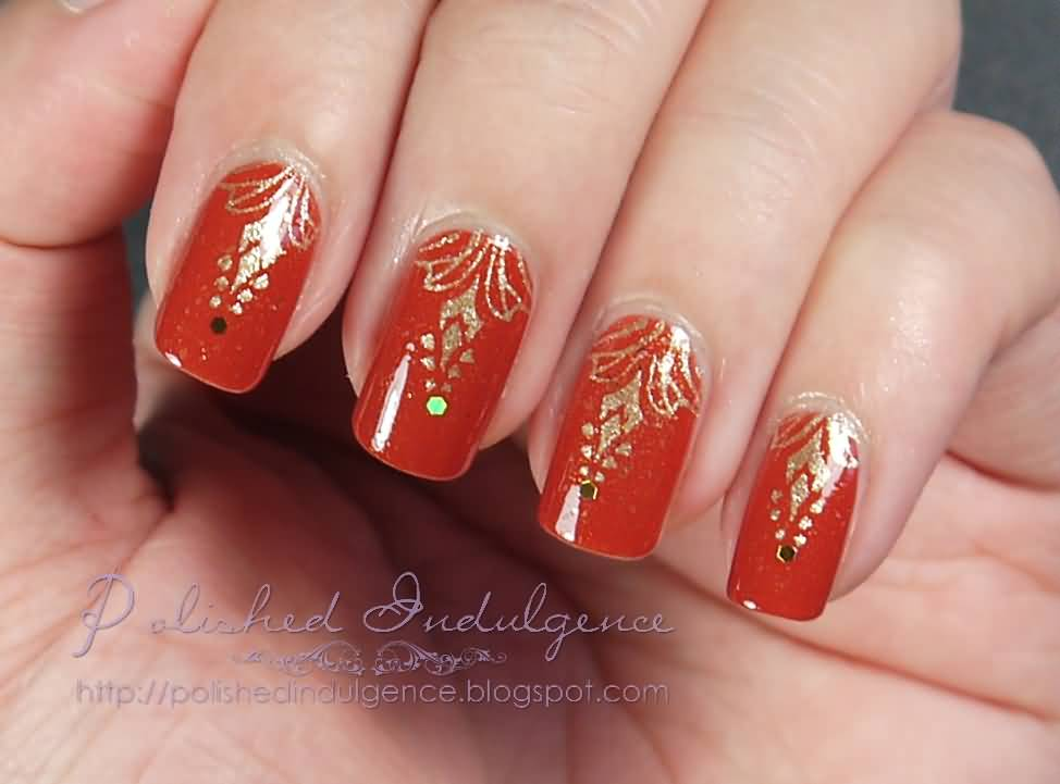 Red Green Gold Christmas Nail Art Designs Ideas Xmas Nails View Images