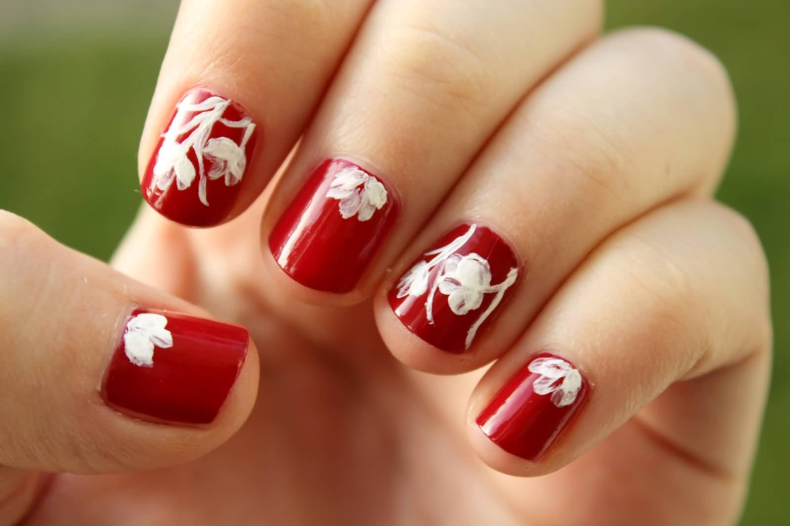 Red Short Nails And White Flowers Nail Art