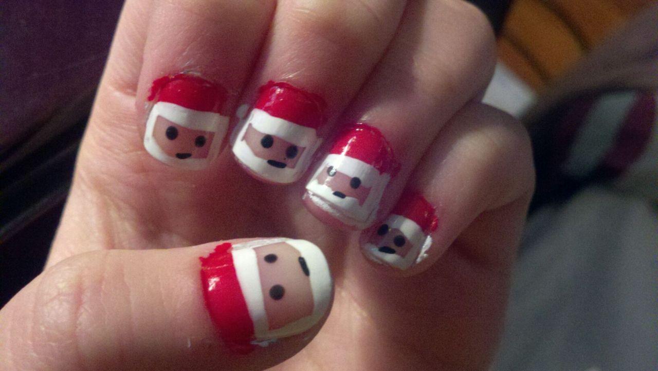 Face Christmas Nail Art For Short Nails
