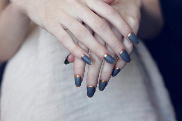 Dark Gray With Golden Border Design Nail Art