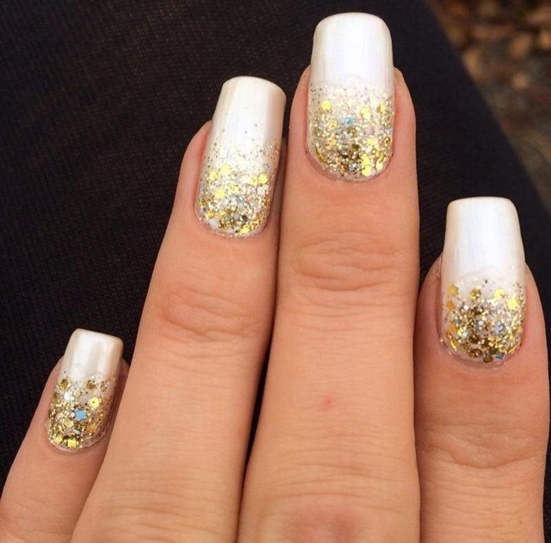 White And Gold Glitter Grant Nail Art Design