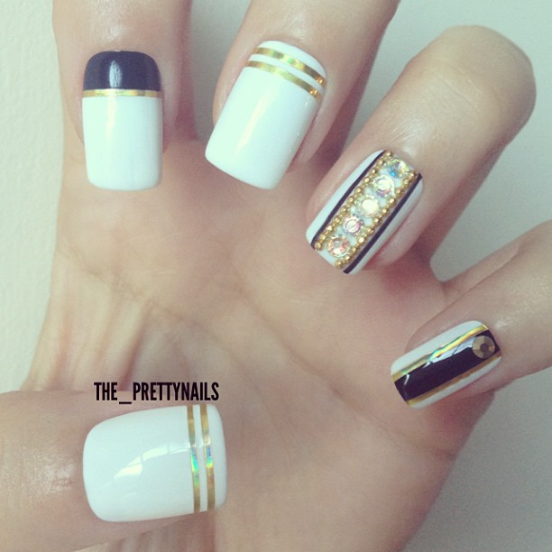 White Nails With Gold Striping Tape Nail Art Design