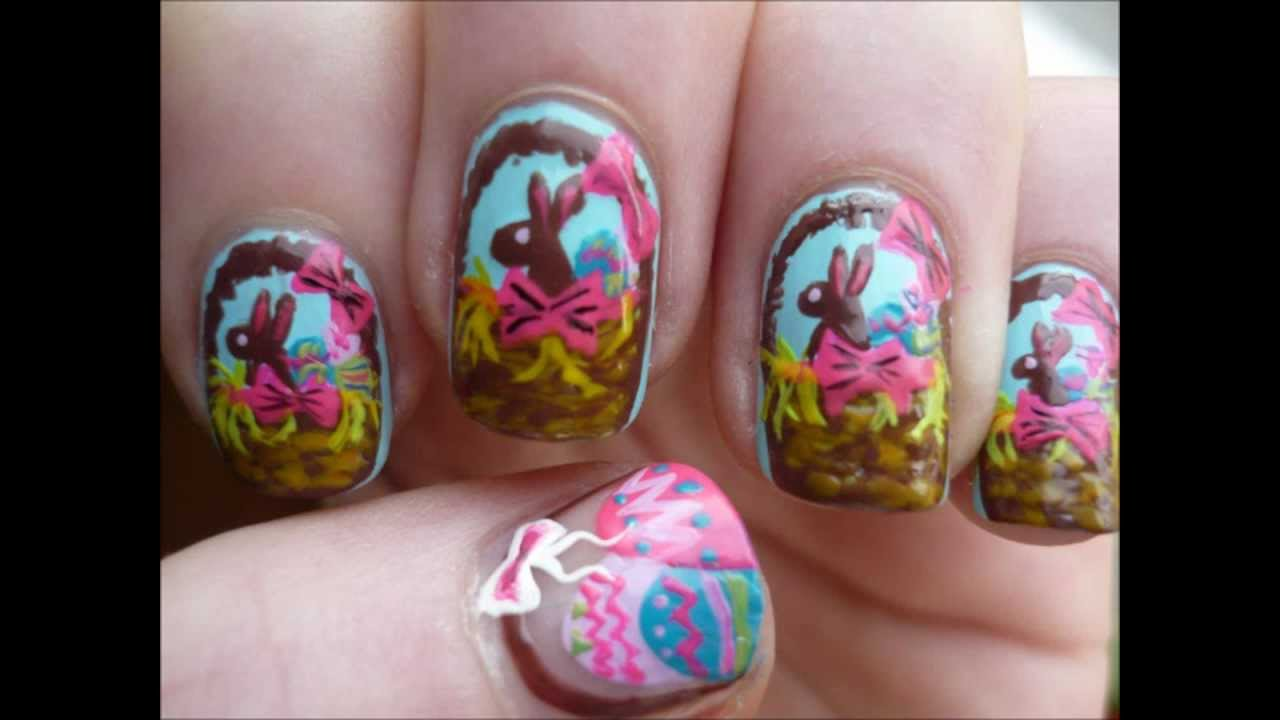 Brown Easter Bunnies Nail Art With Tutorial