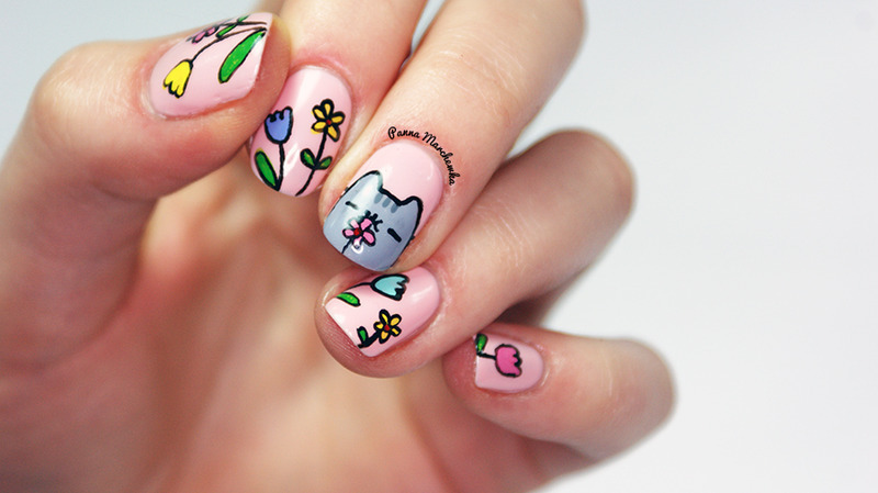 Cute Kitty And Spring Flowers Nail Art Design