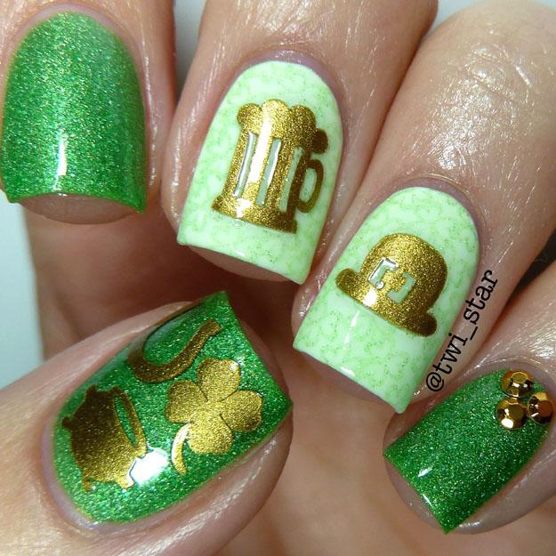 Most Beautiful Green And Gold Nail Art Design Ideas Glitter