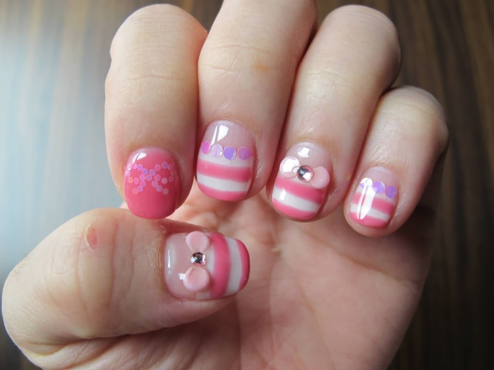Sweet Pink And White Gel Stripes 3d Bow Nail Art