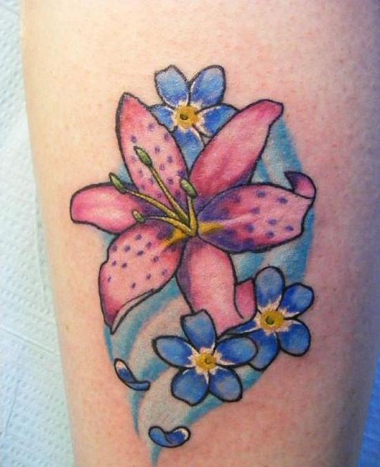 Lily Side Tattoo Tiger
