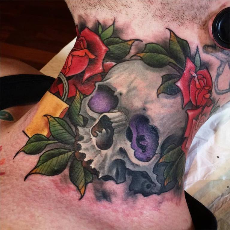 Traditional Skull With Roses Tattoo On Man Right Side Neck