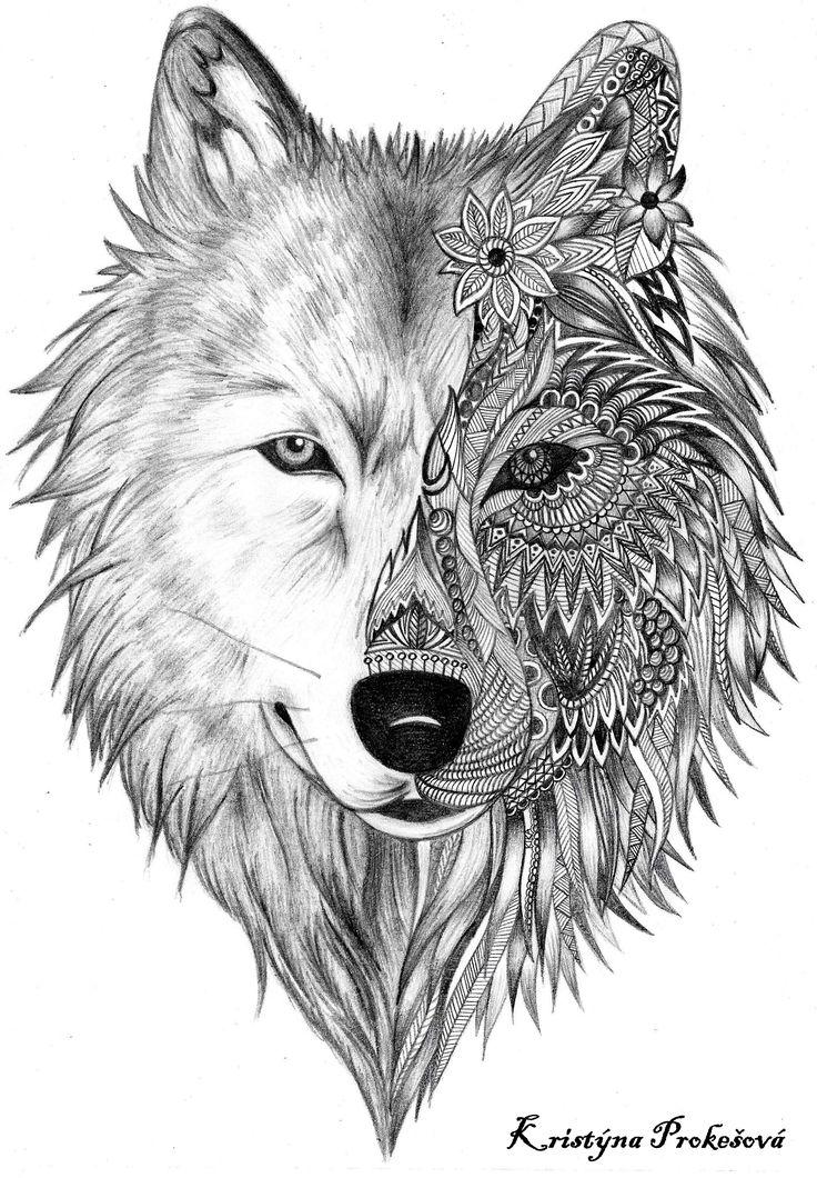 Black Ink Deer And Wolf Head Tattoo Design