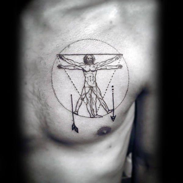 Circle Minimalist Chest Tattoo For Men