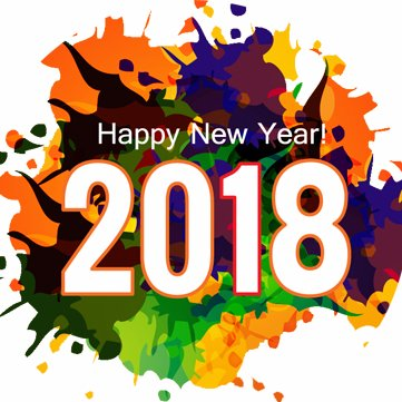 Happy New Year 2018 Color Splash In Background
