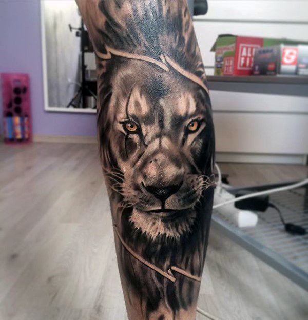 Half Lion Half Tiger Tattoo