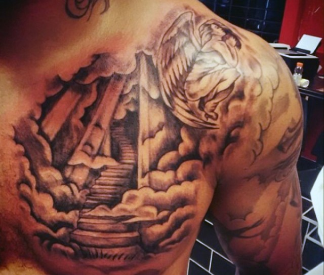 Sun And Clouds Tattoo For Men On Half Chest