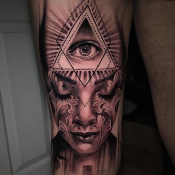 Tattoos And Grey Sleeve Black And Smoke Skull